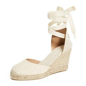 Linen Tall Wedge Lace Up Espadrille Sandals